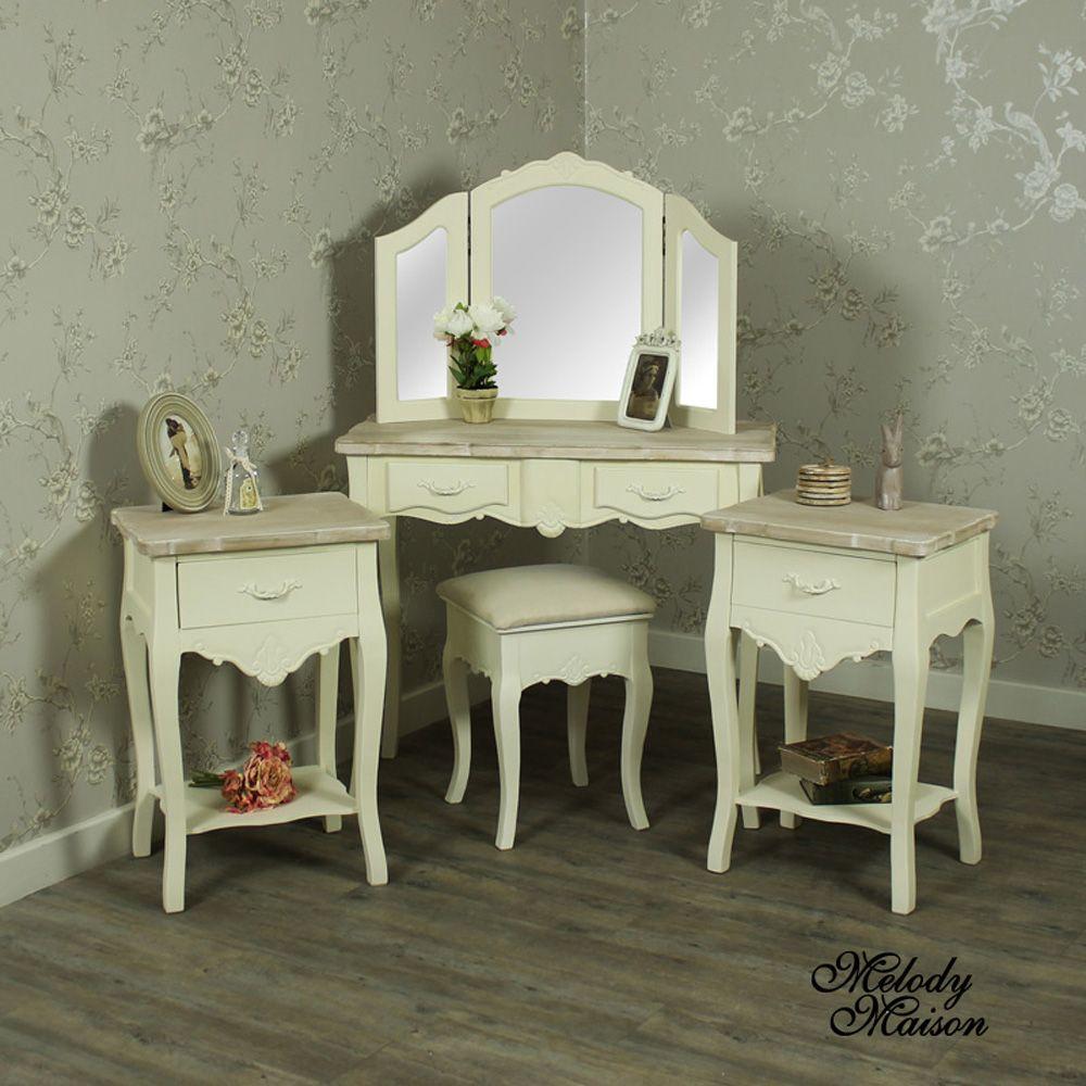 ornate bedroom furniture. Cream Wood Dressing Table, Mirror, Stool Set With 2 Bedside Tables - Belfort Range Stunning Bedroom Furniture Comprising Full Table Pair Ornate