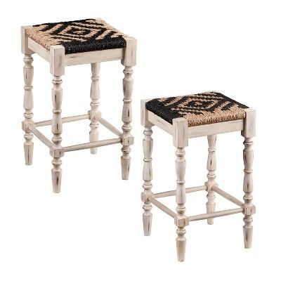 Incredible Solanta Square Backless Seagrass 24 Stools 2Pc Set Spiritservingveterans Wood Chair Design Ideas Spiritservingveteransorg
