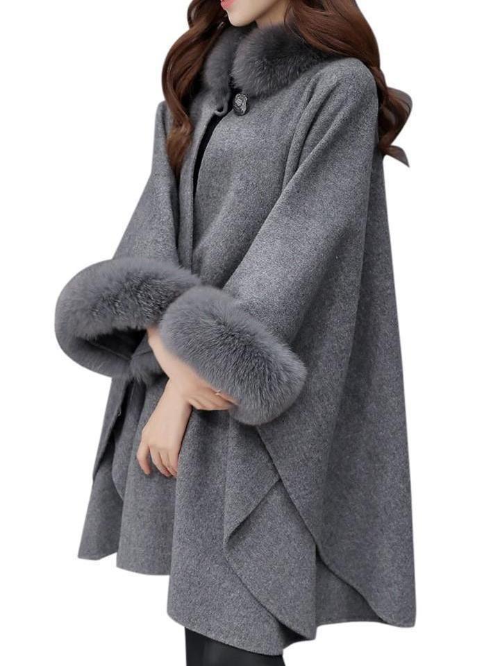 Women Hooded Faux Fur Loose Cape Long Cloak Shawl Mantle Cardigan Coat Outwear