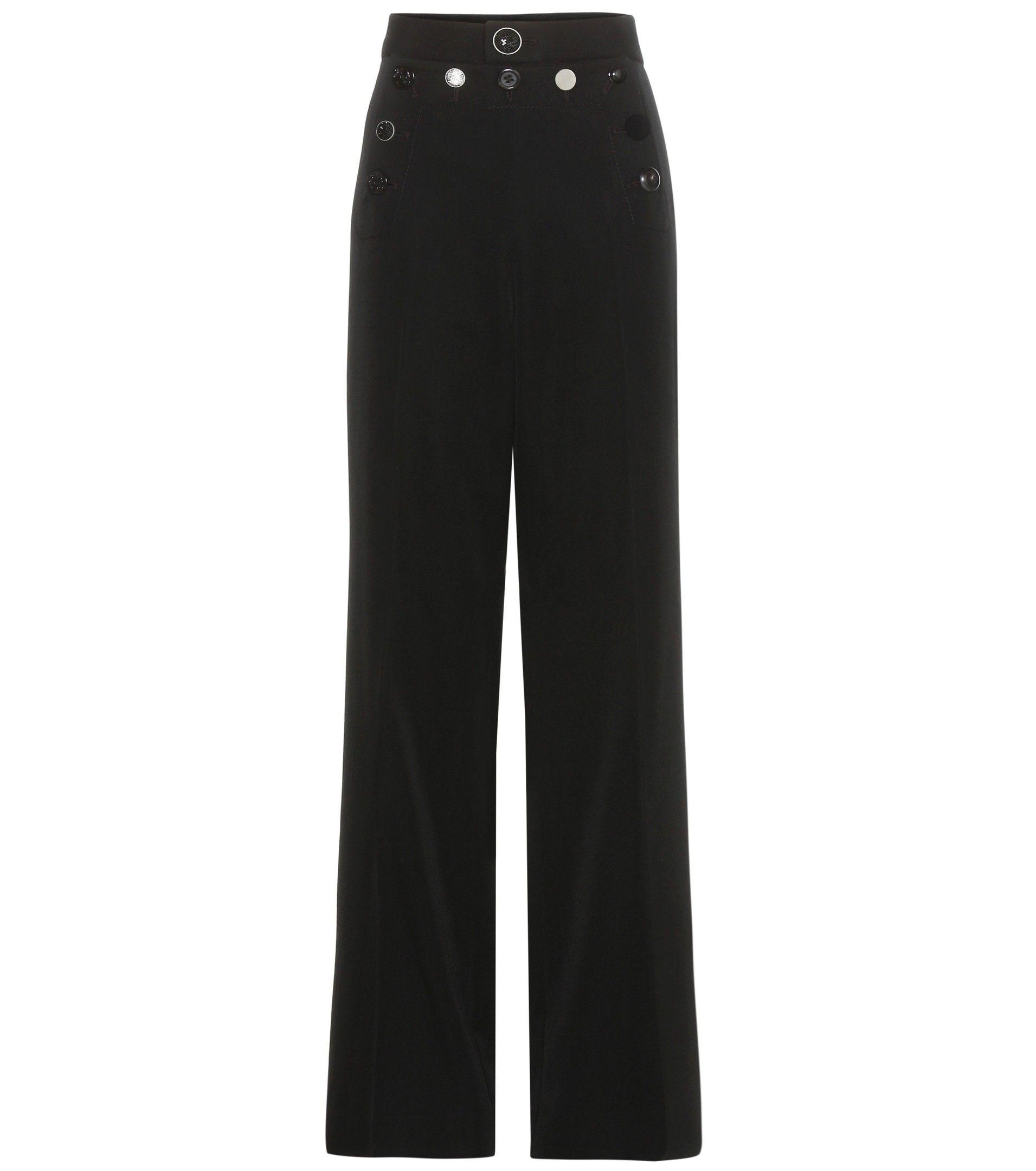 Black embellished wide-leg wool trousers