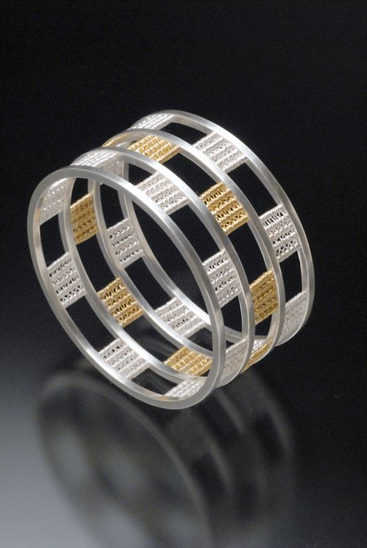 Bracelet Linda Bernasconi Checkered Linda Weaves With 22k Gold Fine Silver And Other Pure Sparkly Bracelets Contemporary Jewelry Design Modern Jewelry