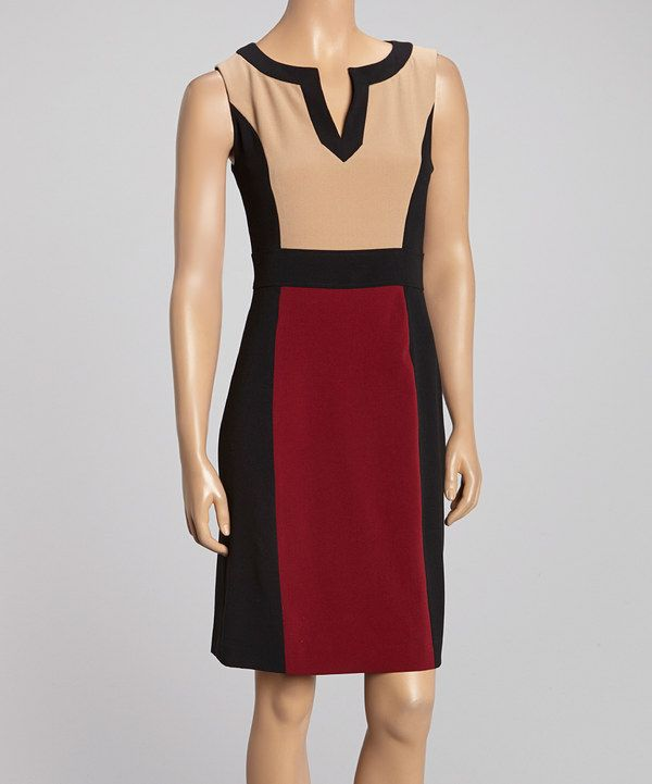 Another great find on #zulily! Glamour Camel & Black Sleeveless Dress by Glamour #zulilyfinds