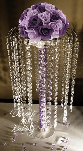 DECORATE MY WEDDING Crystal Centerpiece ANDREA with teardrops