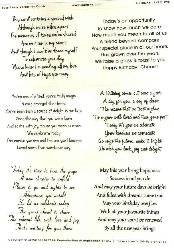 La Pashe Easy Peely Verses for Cards Birthday 2 – Birthday Greeting Card Sayings