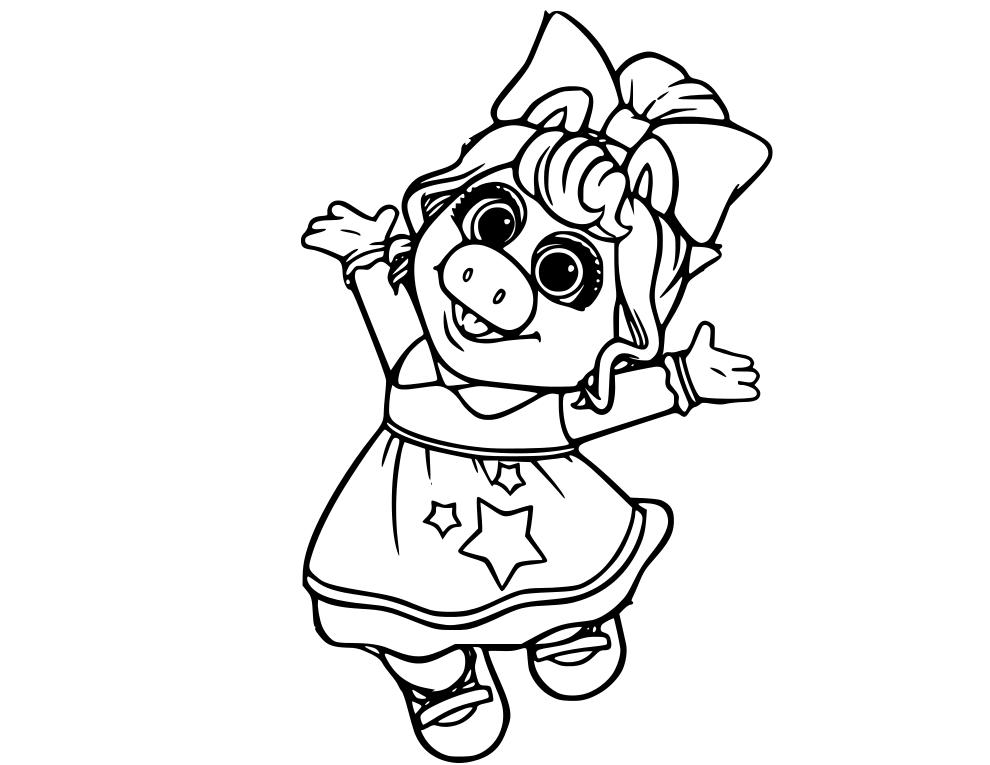Miss Piggy Disney Muppet Babies Coloring Page Siluetas