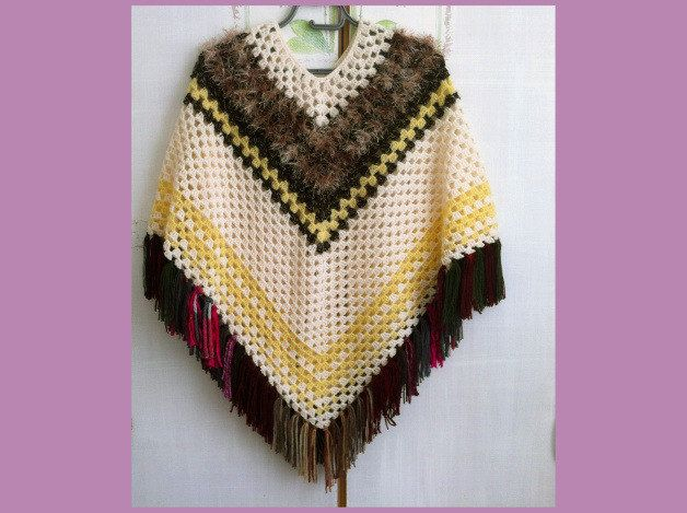 Girl Ponchomulticolored Hand Crocheted Warm Summer Poncho With