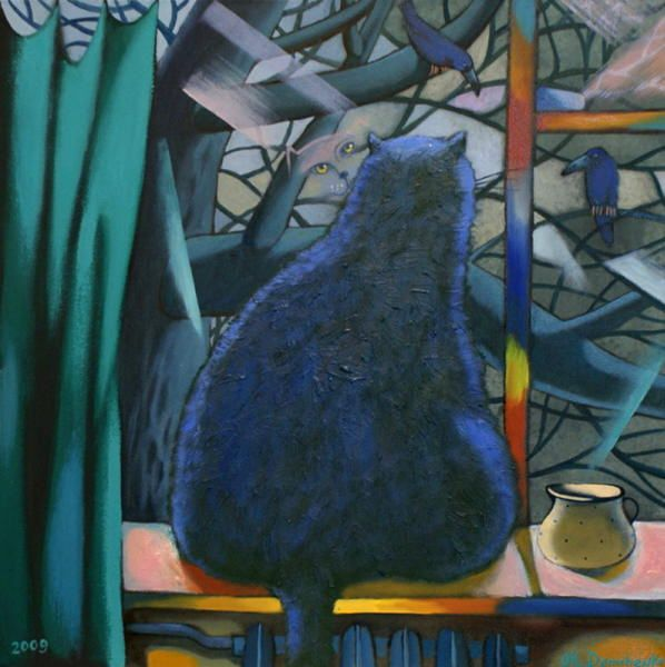 Painting of cat in the window. Crows Outside