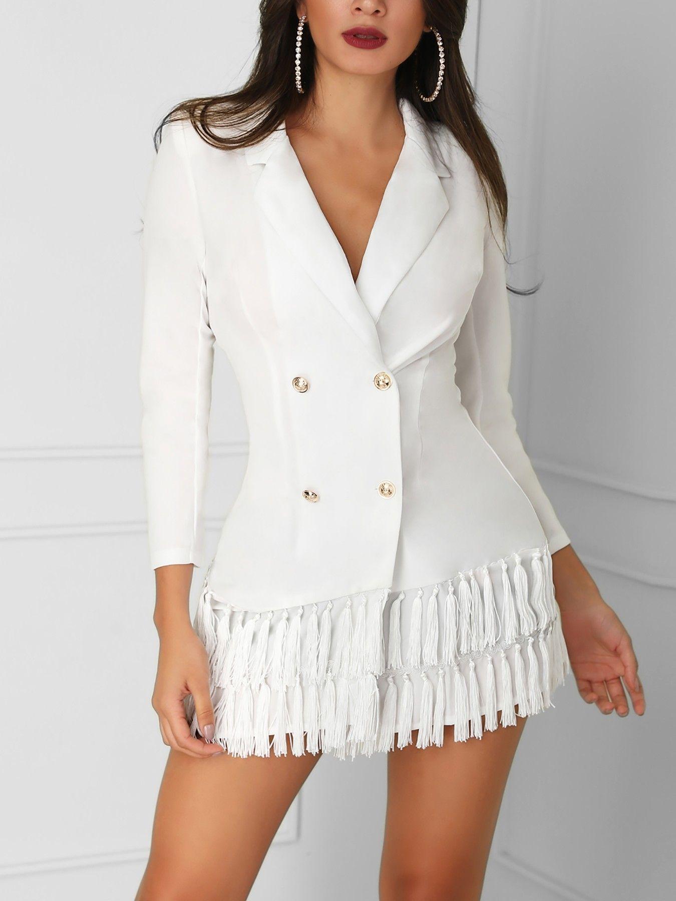 73ccaa0c882f Shop Work Dresses Double-Breasted Tassel Hem Blazer Dress | Stuff to ...