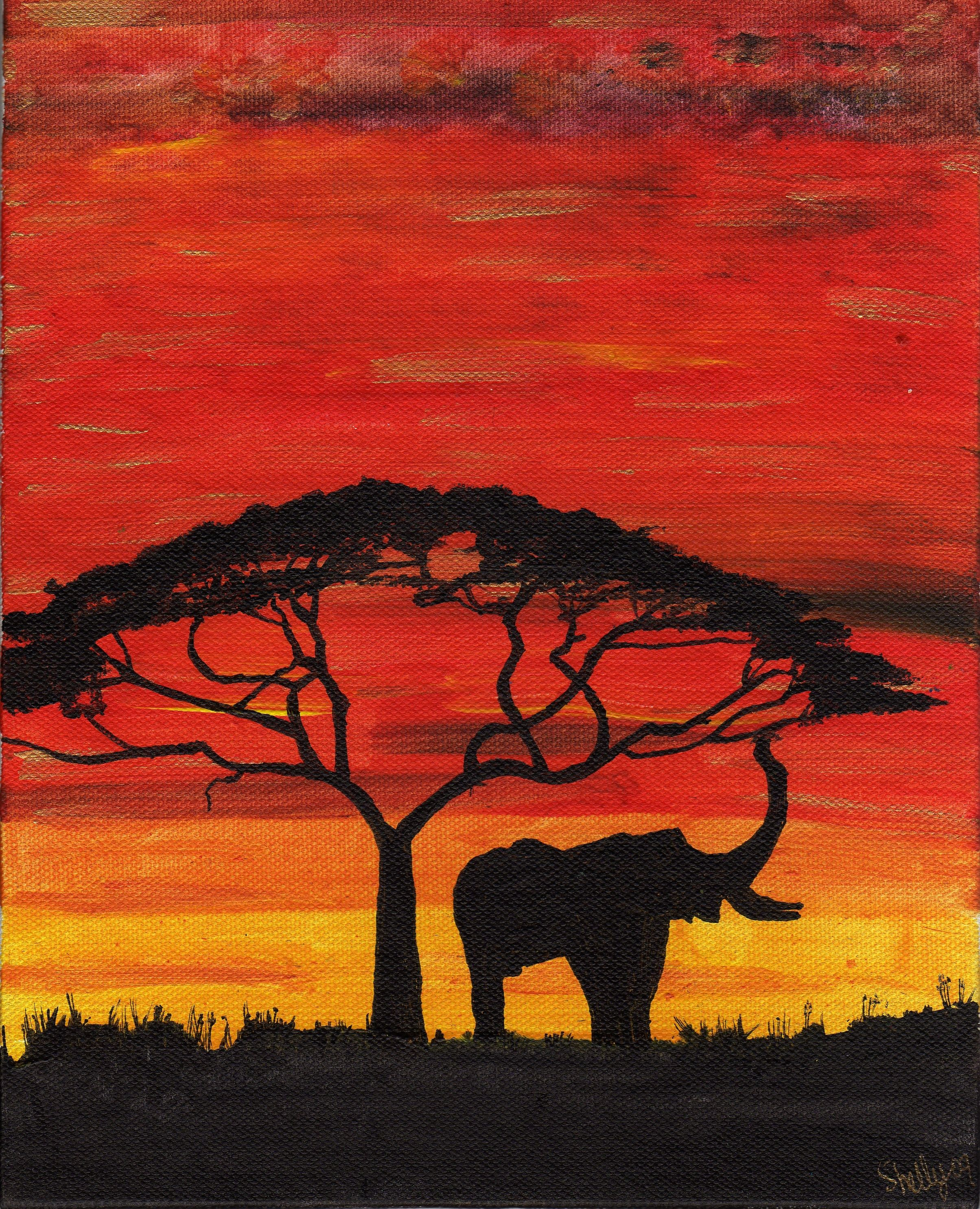 Nature Wildlife Photo Print ONLY Wall Art A4 African Sunset Elephants Poster