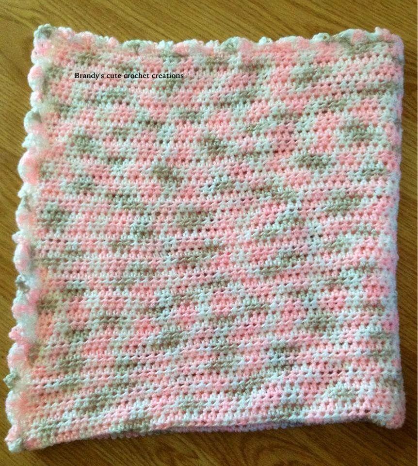 Basic half double crochet variegated baby blanket