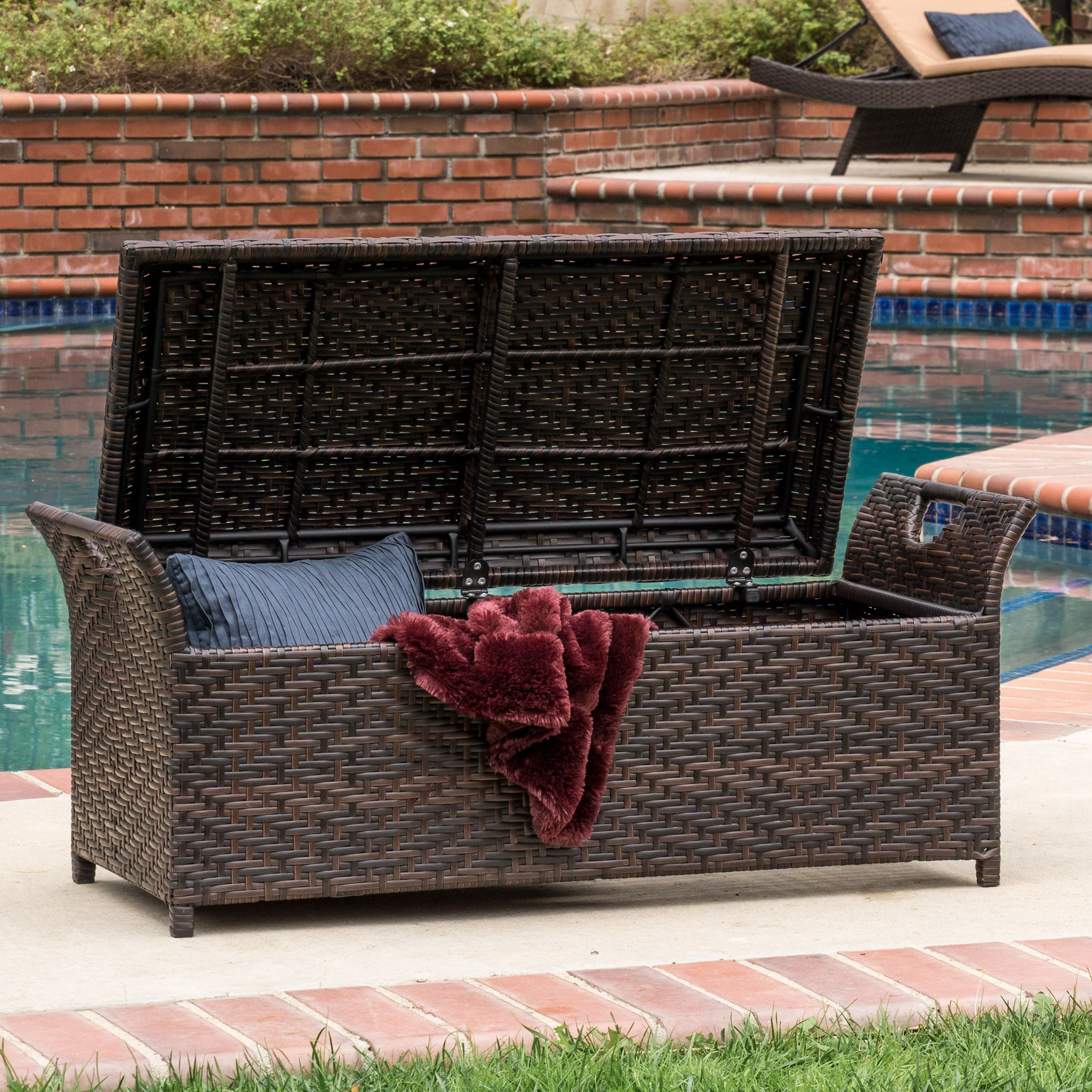 the wing outdoor storage bench offers the practical function of a rh pinterest com