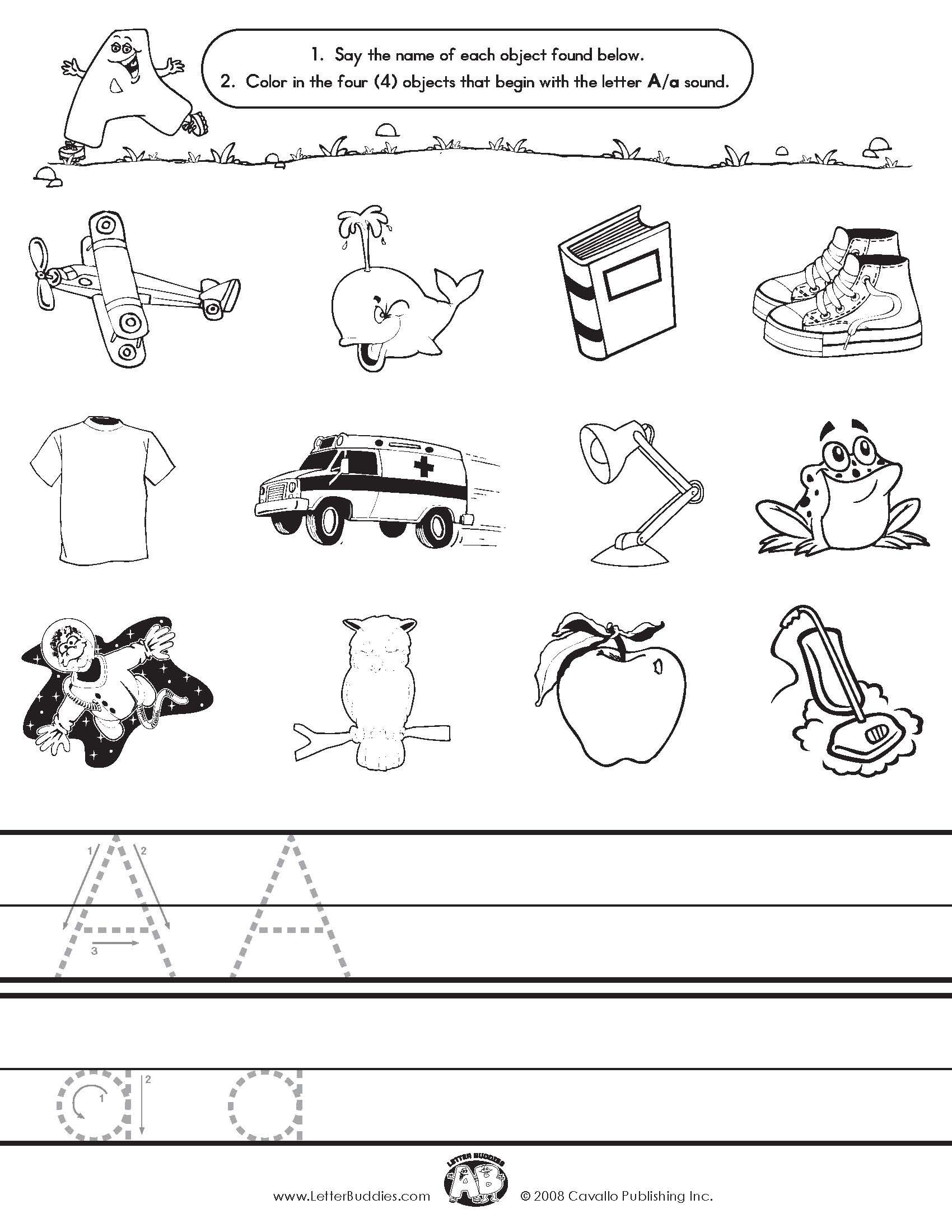 Worksheets Letter Sound Worksheets initial sounds writing alphabet language arts ideas letter buddies a
