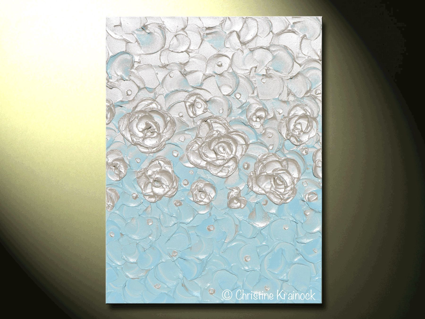 Custom abstract painting pearl white blue wall art home decor