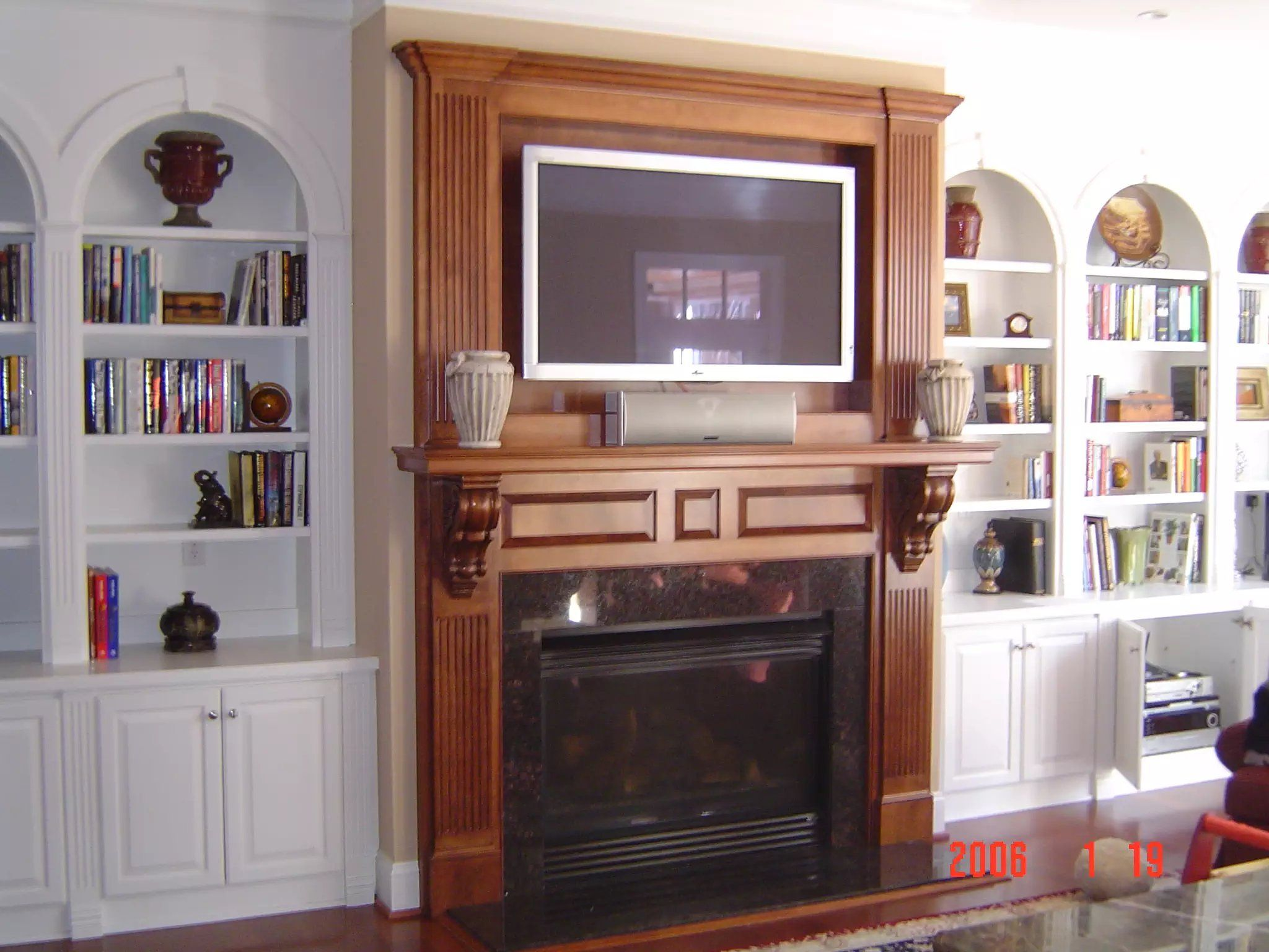 living room wall cabinets built%0A Stained Mantel and Entertainment Center with White BuiltIn Shelving