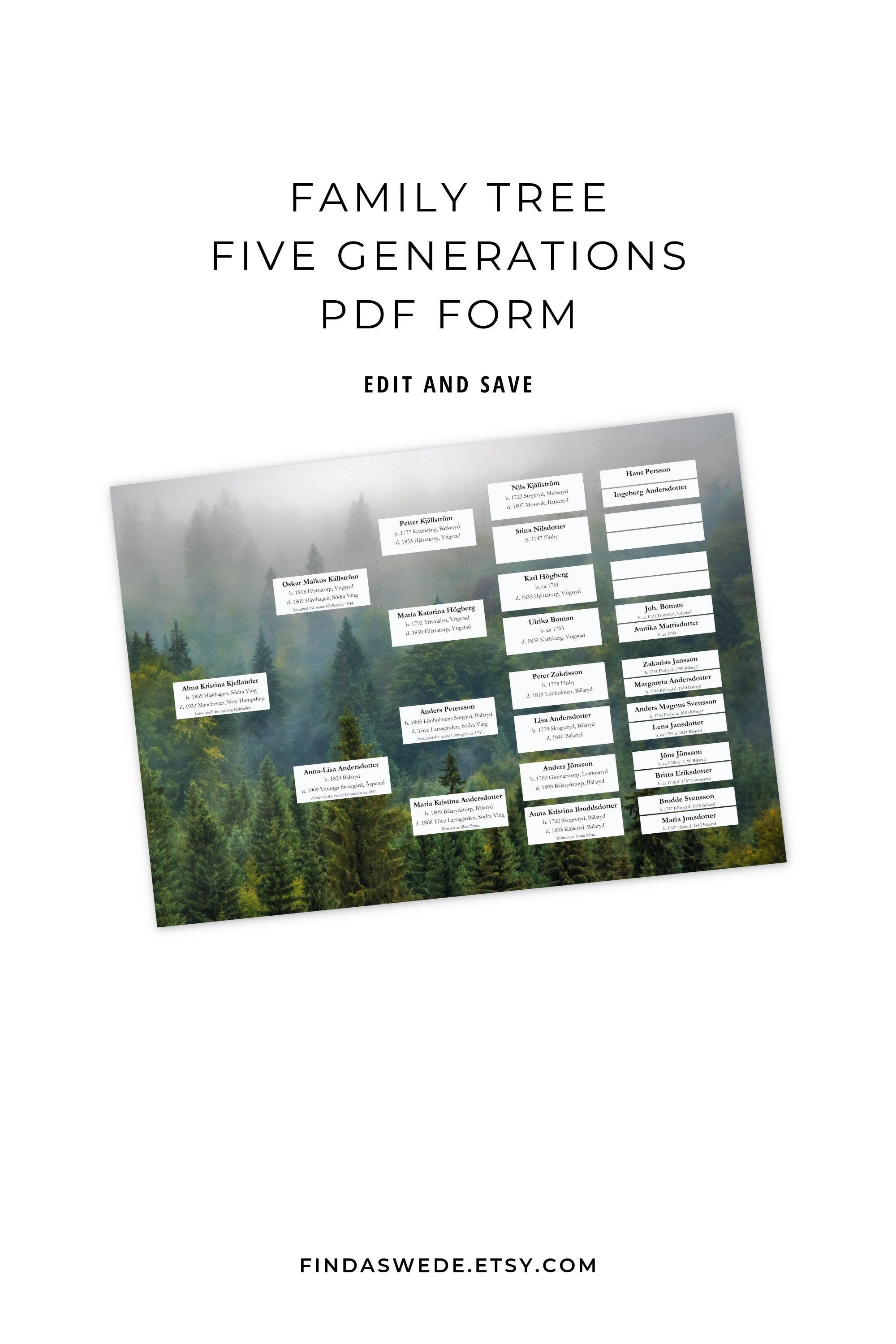 Pedigree Chart Five Generations Forest Background