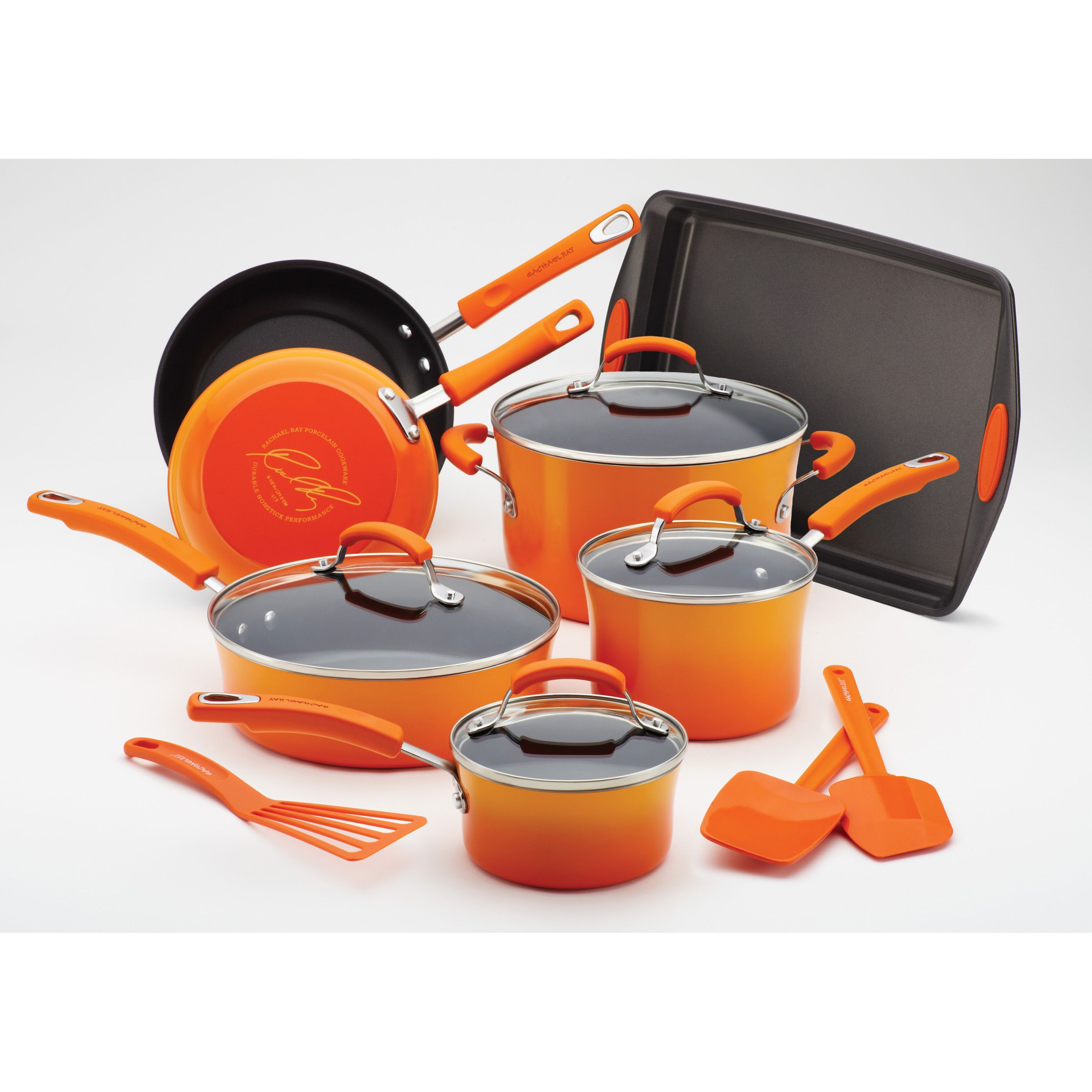 Colored pots and pans set thinking orange green blue for Kitchen set orange