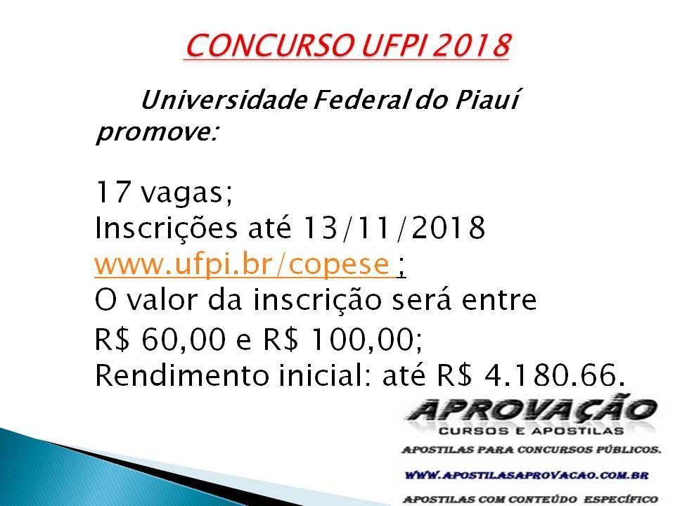 Concurso Ufpi 2019 Compre Sua Apostila Ufpi Conosco Suporte