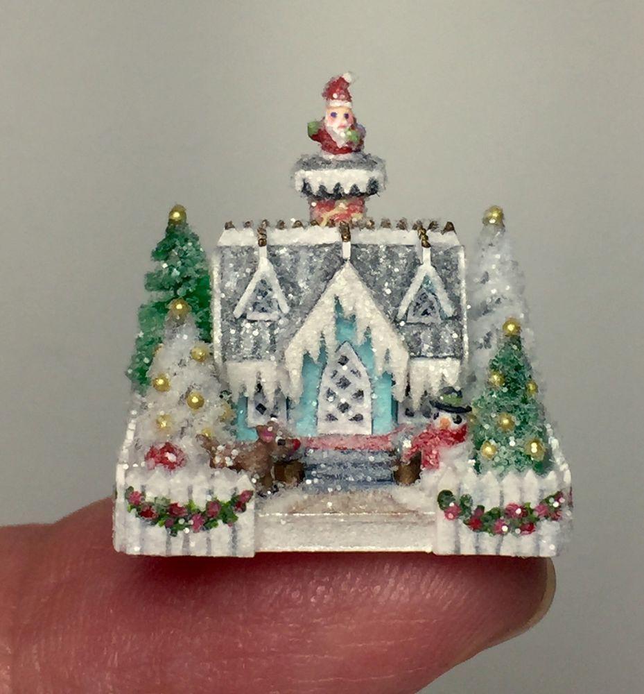 OOAK Miniature Dollhouse Christmas Putz Handcrafted Glitter Cottage House Santa   eBay