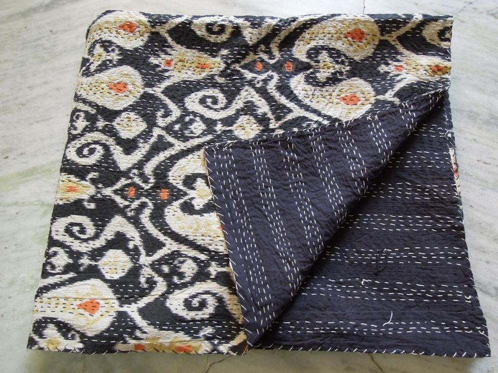 Black Ikat Kantha Quilt Throw Gudri Reversible Bedspread Twin Size Blanket Gift