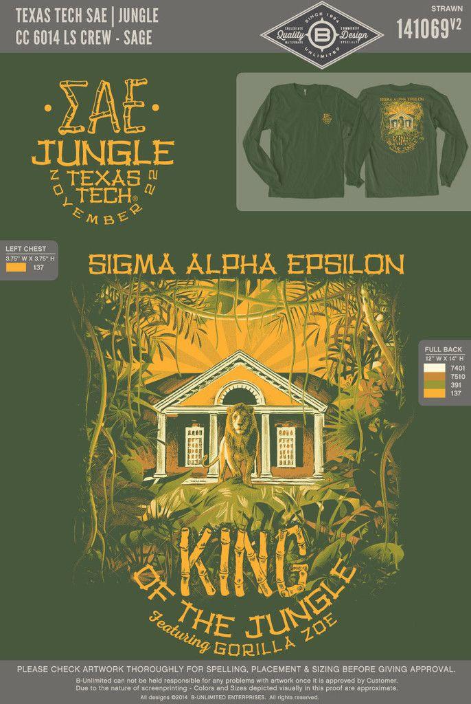 a2c35ea5 Texas Tech Sigma Alpha Epsilon- Jungle (LS) General idea for sing-song  shirt?