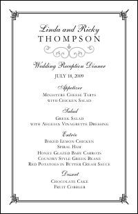 wedding menu templates free printables pinterest wedding menu