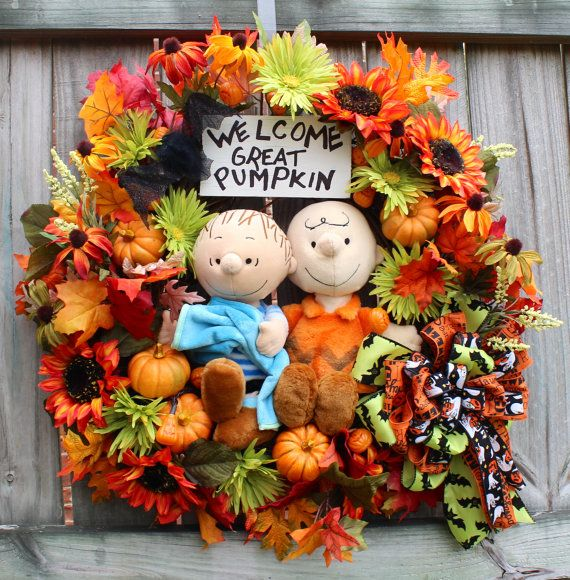 It's the Great Pumpkin Charlie Brown Wreath, by IrishGirlsWreaths on Etsy, $179.99