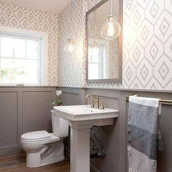 White And Gray Powder Room With Gray Wainscoting Modern Farmhouse Bathroom Small Bathroom Remodel Wainscoting Bathroom