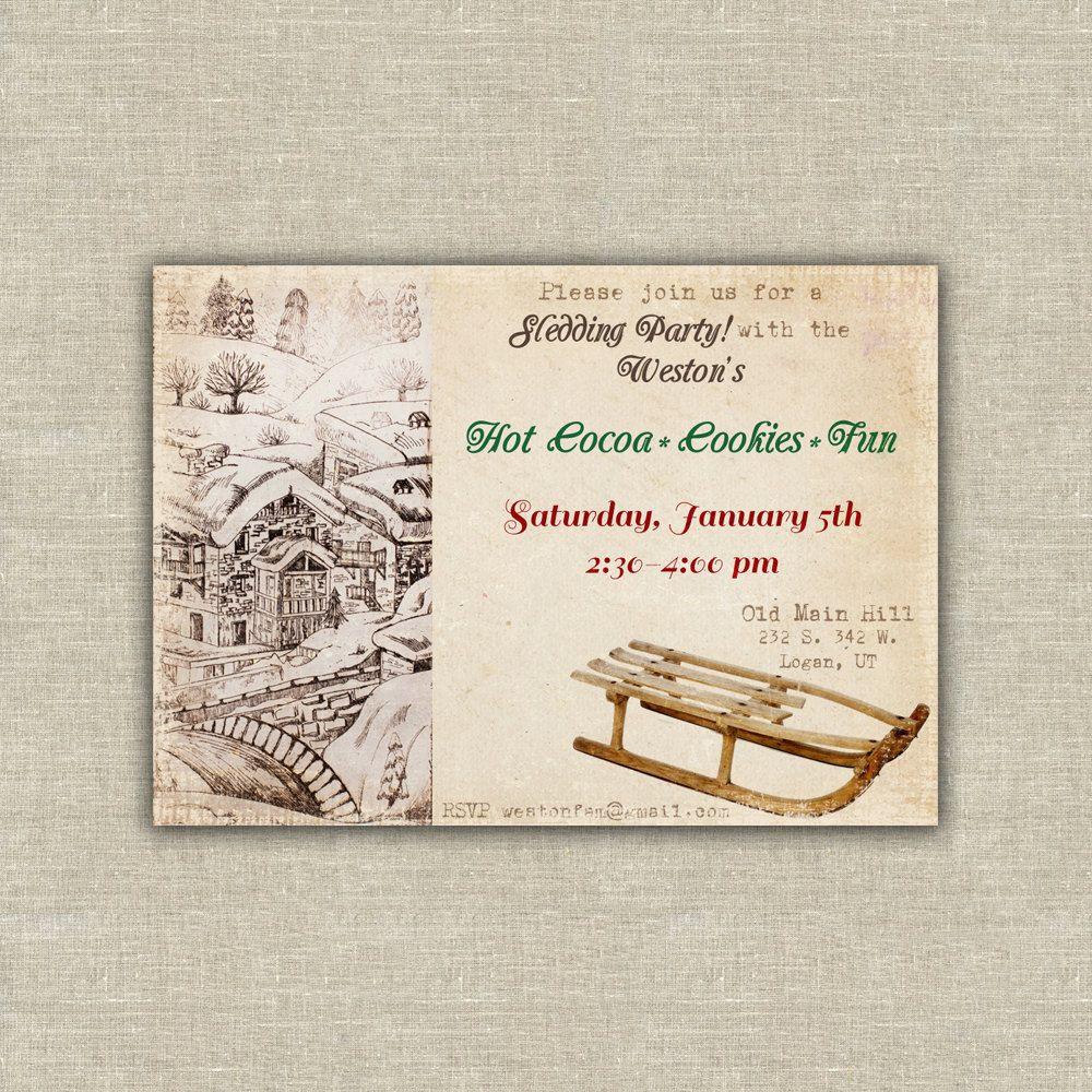 Printable sledding party invitation. $20.00, via Etsy. | my etsy ...