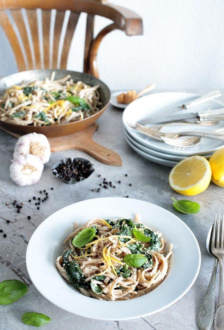 Simple Vegan Lemon Miso Pasta • Green Evi