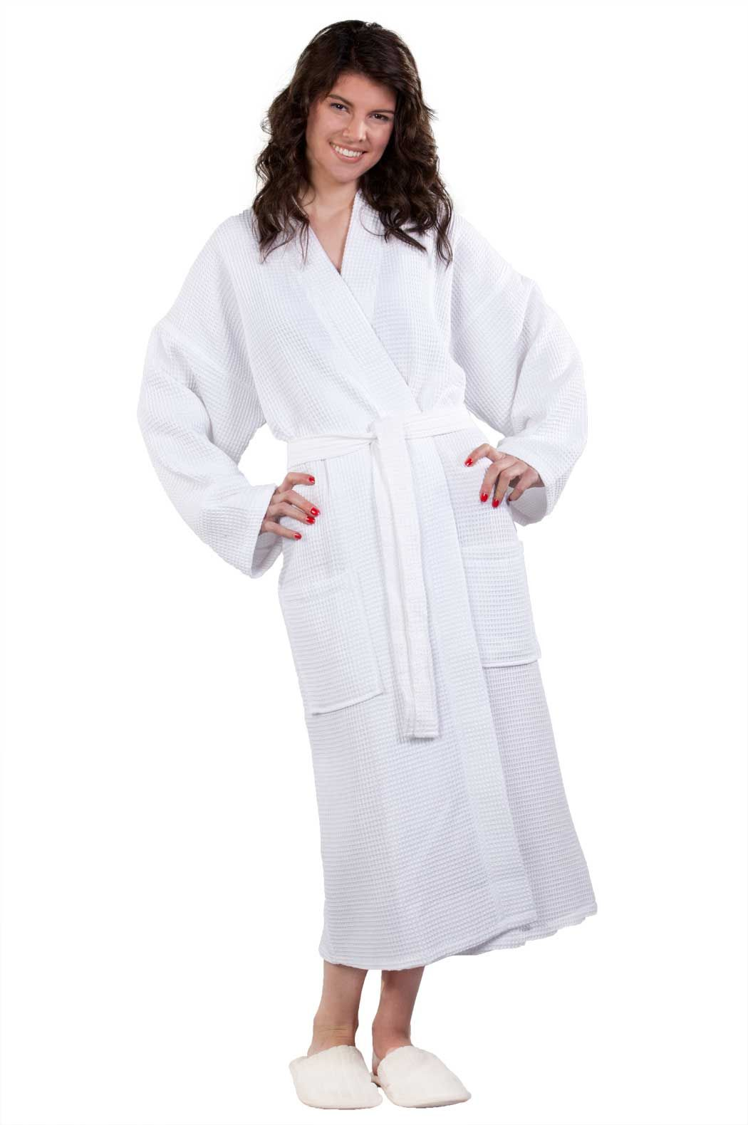 63913df5df Waffle Kimono White Long Robe Square Pattern
