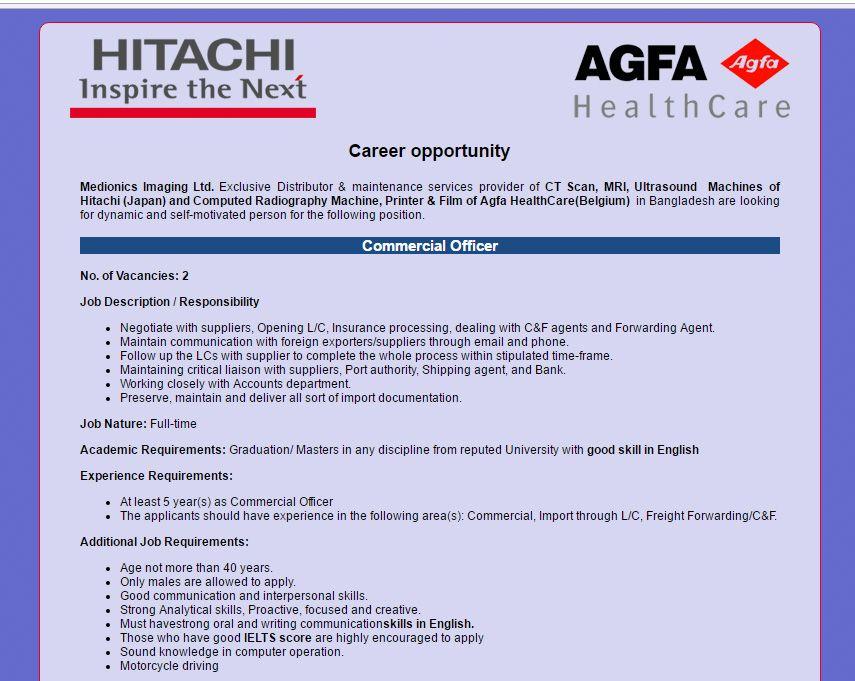 Medionics Imaging Ltd Position Commercial Officer Jobs