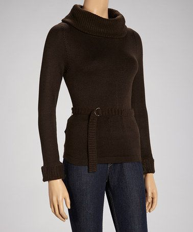 Take a look at this Brown Chenille-Trim Belted Sweater - Women by Love 4 Luck on #zulily today!