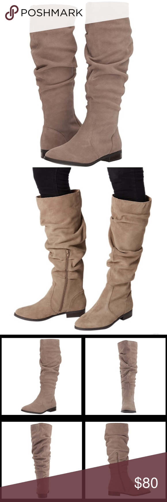 8936453bc03  NEW  Steve Madden Beacon Boots New Steve Madden Women s Beacon Boots Size   8 Color  Taupe Suede Soft suede surfaces   a slouchy scrunched shaft give  this ...