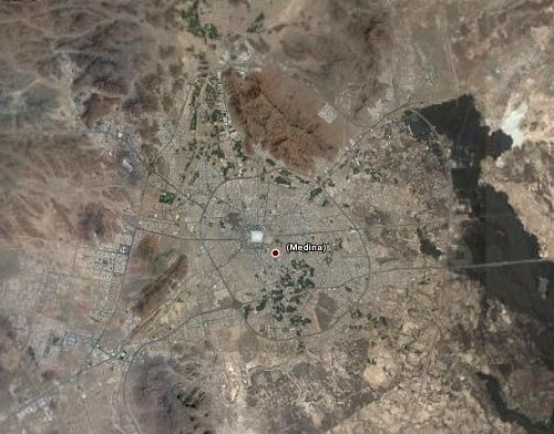 Satellite View Of Medina From 15 Miles Up With The White Prophet S Mosque Clearly Visible Medina Mosque Masjid