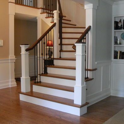 White Box Newel Post Again Here It S On The Step I Like The Look And The Platform Will Be O Traditional Staircase Interior Stair Railing Staircase Design