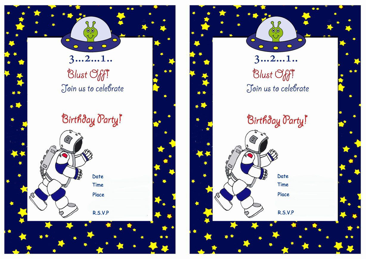 Space Free Printable Birthday Party Invitations
