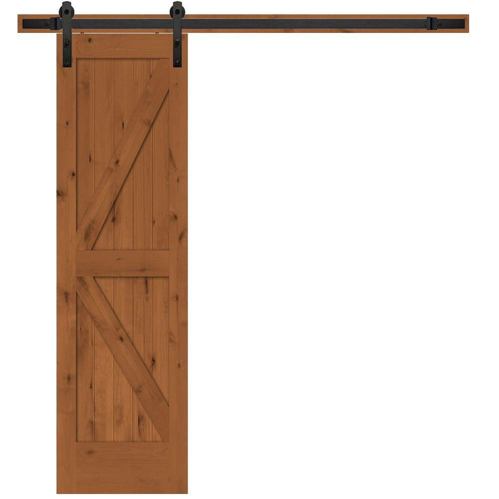 Steves Sons 24 In X 84 In Rustic 2 Panel Stained Knotty Alder Interior Sliding Barn Door Slab With Hardware Wheat Black Interior Sliding Barn Doors Interior Barn Doors Sliding Door Hardware