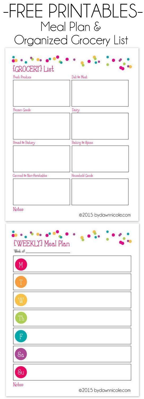 organizational printables meal plan grocery list printables