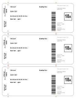 Use this template to make fake airplane tickets to play for Pretend plane ticket template