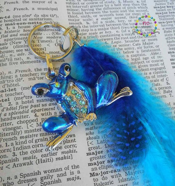 Frog and Blue Feathers keychain