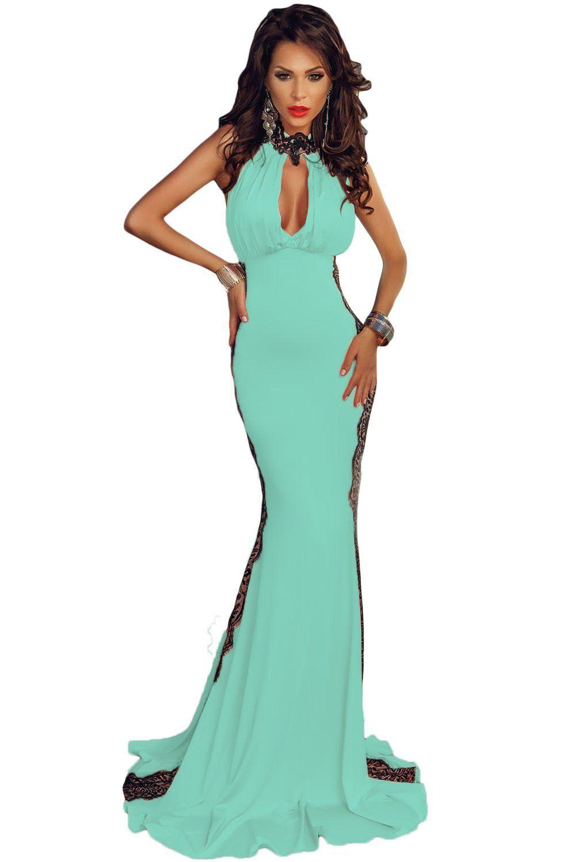 Light blue peekaboo halterneck lace trim party gown party gowns