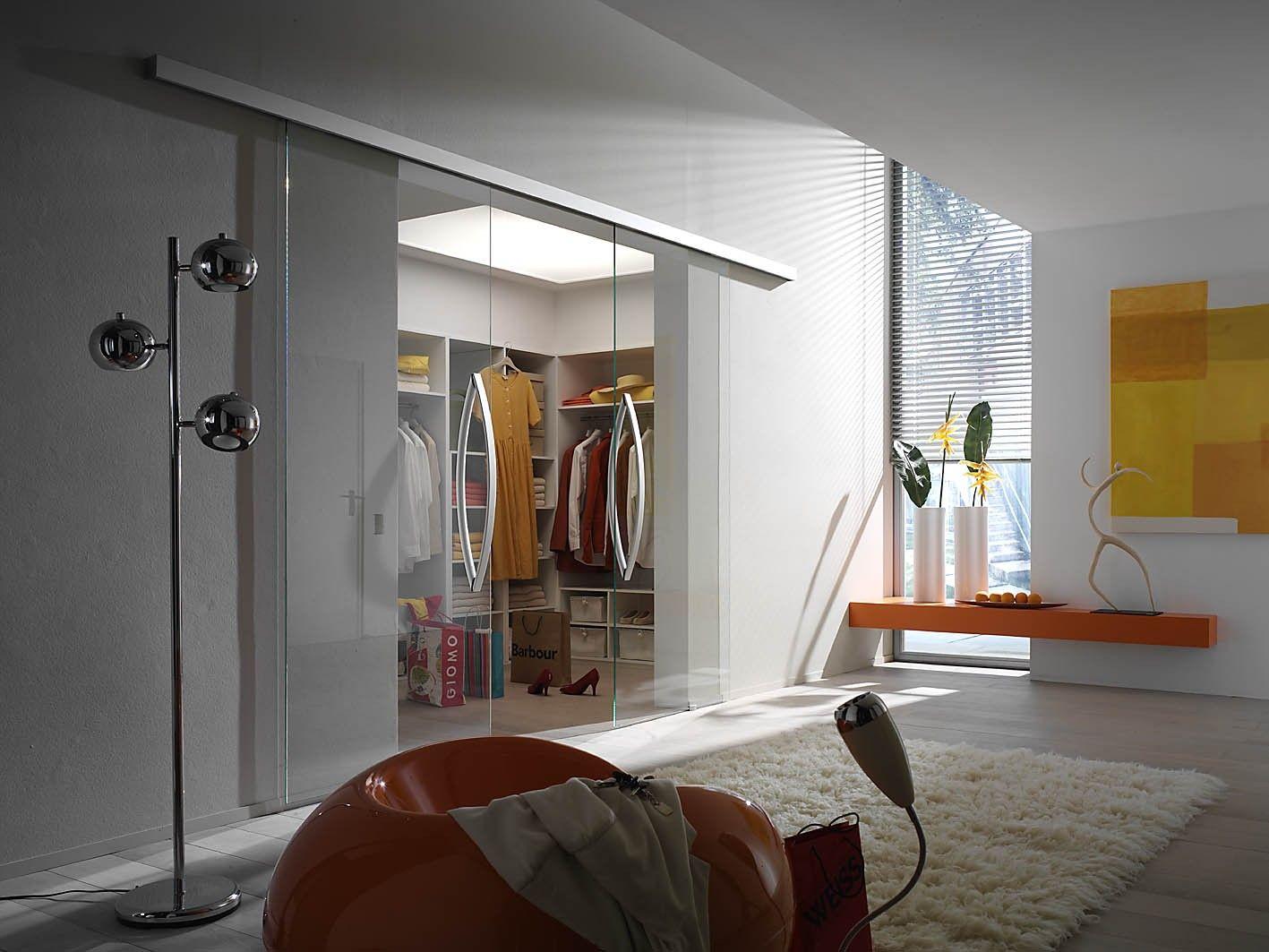 Clear Glass Room Divider - Sliding Door