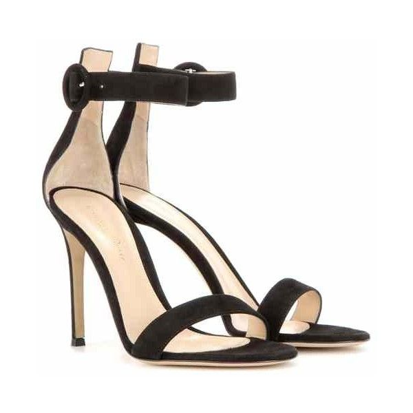 Gianvito Rossi Portofino 105 Suede Sandals ($770) ❤ liked on Polyvore featuring shoes, sandals, black sandals, suede leather shoes, black suede sandals, gianvito rossi sandals and gianvito rossi