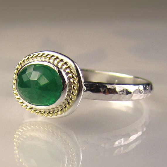 Rose Cut Emerald Ring 18k Yellow Gold and Sterling by JanishJewels