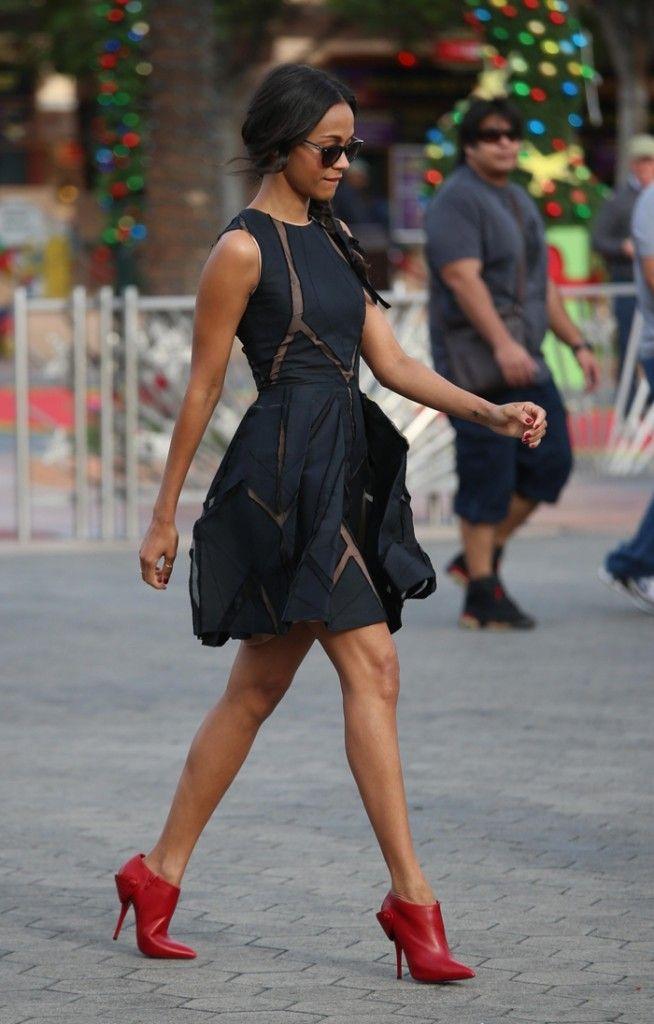 Zoe Saldana | Fashion & Style | Fashion, Black dress red ...