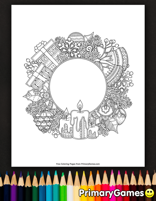 christmas wreath coloring page • free printable ebook
