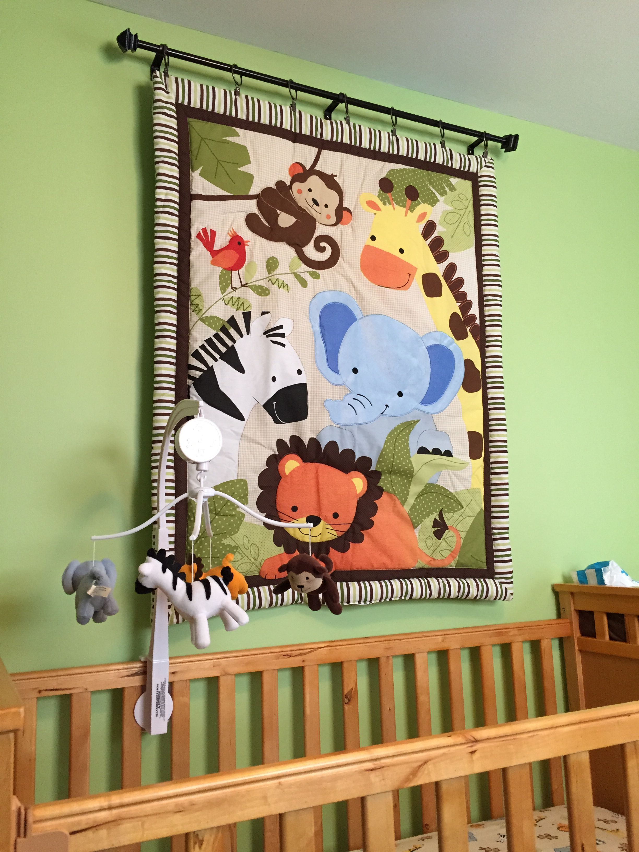 Hang Baby Blanket Above Crib With Quilt Clips And Curtain