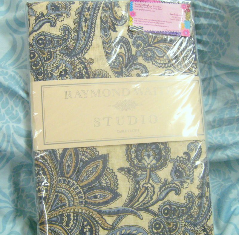 Exceptionnel RAYMOND WAITES TABLECLOTH Fabric 60 X 84 Oblong   Shades Of Blue N Tan  Paisley |