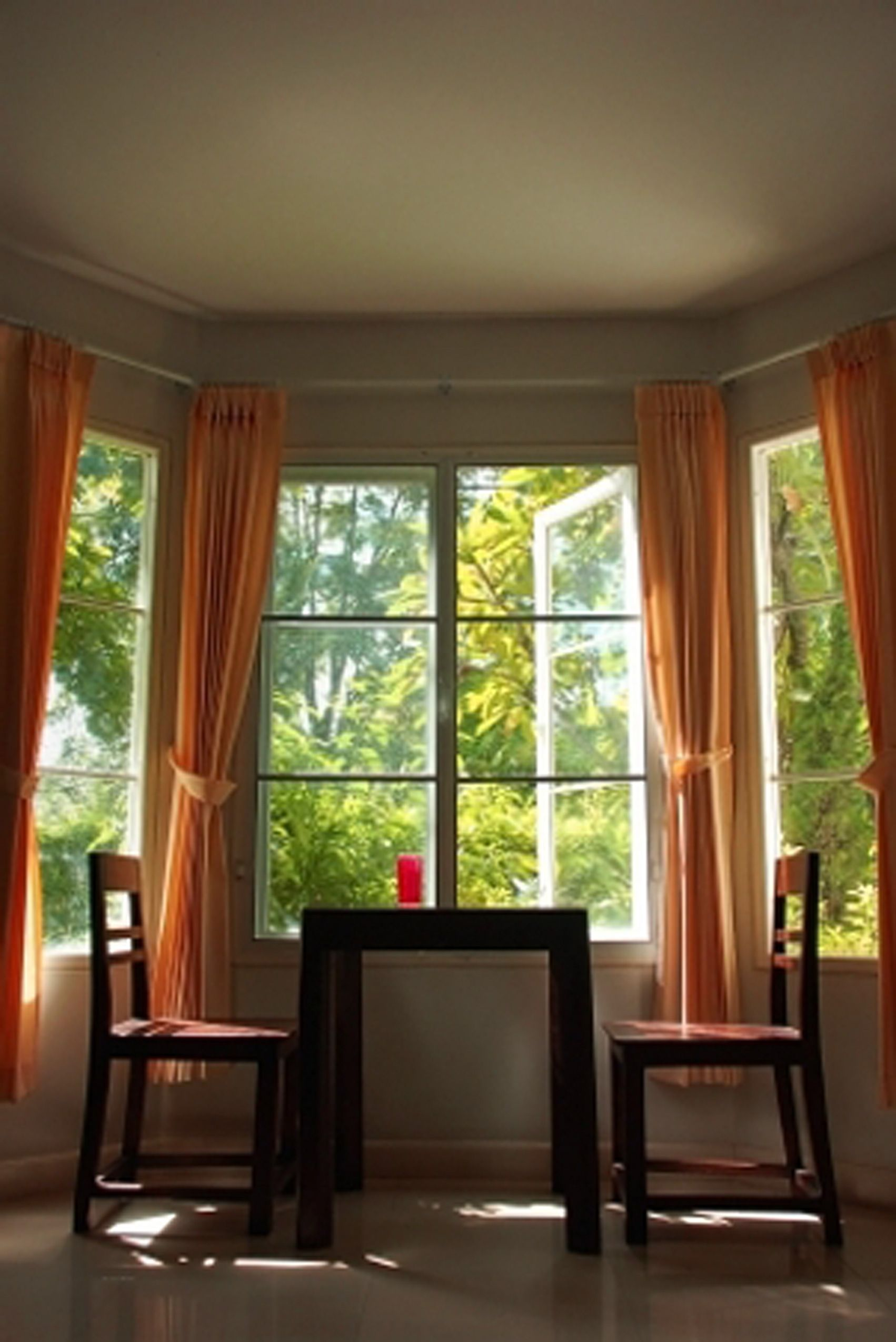 Merveilleux Curtains For Bay Windows Idea  In The Daytime, Do This In The Sunroom.