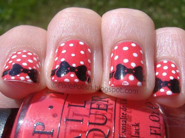 Minnie Mouse Nail Art Manicure   Disney Mania   Pinterest   Diseños ...